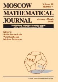Moscow Mathematical Journal № 1/2016.